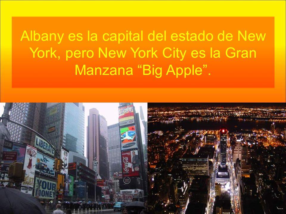 Albany es la capital del estado de New York, pero New York City es la Gran Manzana Big Apple.