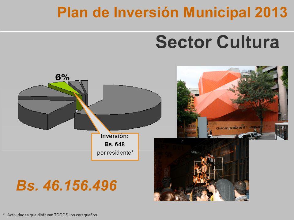 6% Plan de Inversión Municipal 2013 Sector Cultura Bs.