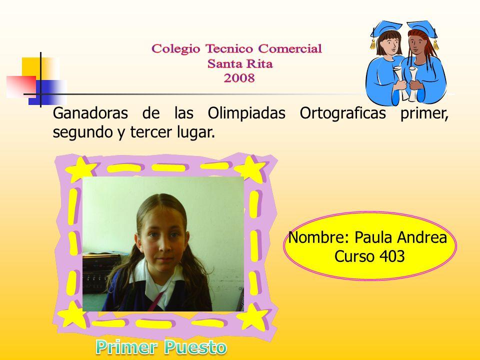 Ganadoras de las Olimpiadas Ortograficas primer, segundo y tercer lugar.