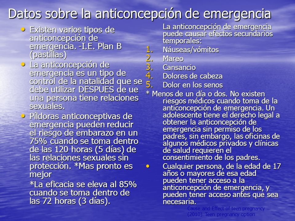Cause and Effect of teen pregnancy (2010). Teen pregnancy option Datos sobre la anticoncepción de emergencia Existen varios tipos de anticoncepción de