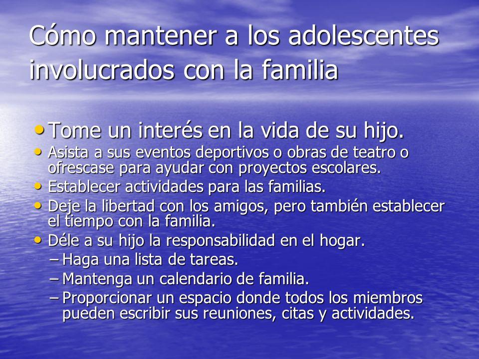 Cómo mantener a los adolescentes involucrados con la familia Tome un interés en la vida de su hijo. Tome un interés en la vida de su hijo. Asista a su