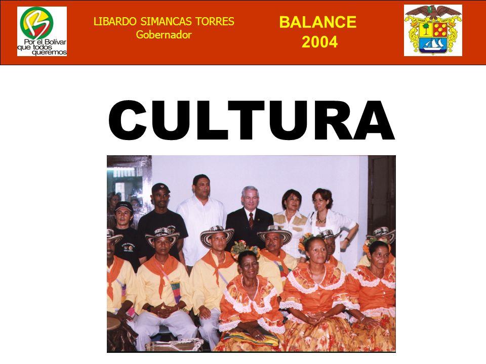 BALANCE 2004 LIBARDO SIMANCAS TORRES Gobernador CULTURA