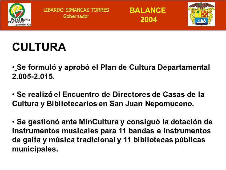 BALANCE 2004 LIBARDO SIMANCAS TORRES Gobernador CULTURA Se formuló y aprobó el Plan de Cultura Departamental 2.005-2.015.