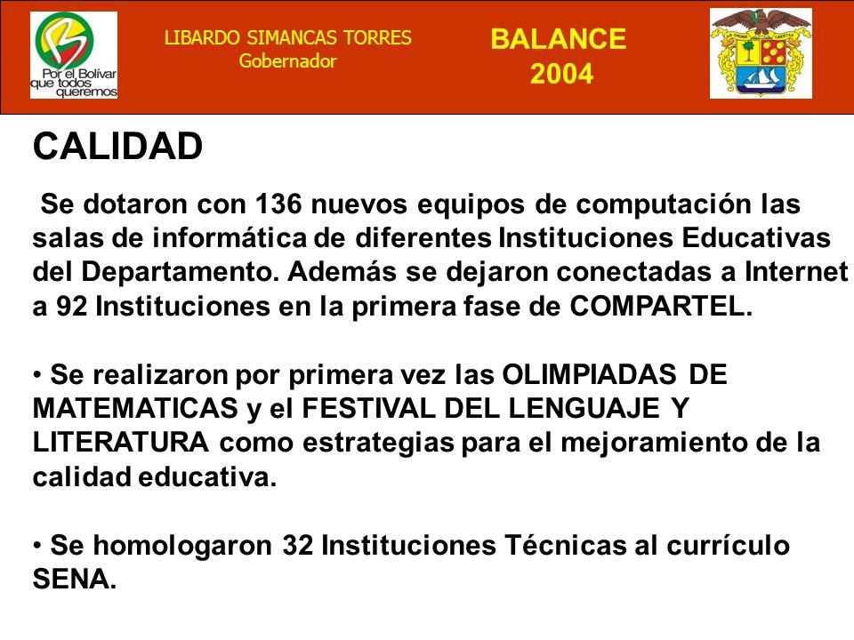 BALANCE 2004 LIBARDO SIMANCAS TORRES Gobernador CALIDAD Se dotaron con 136 nuevos equipos de computación las salas de informática de diferentes Instituciones Educativas del Departamento.