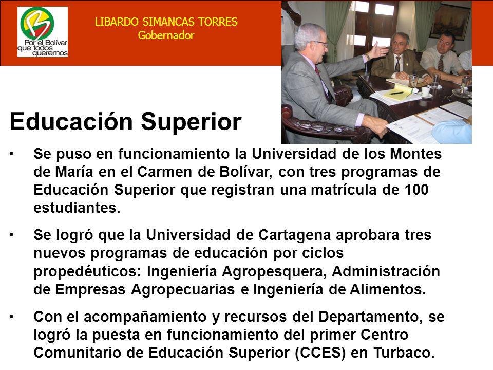 BALANCE 2004 LIBARDO SIMANCAS TORRES Gobernador Educación Superior Se puso en funcionamiento la Universidad de los Montes de María en el Carmen de Bolívar, con tres programas de Educación Superior que registran una matrícula de 100 estudiantes.