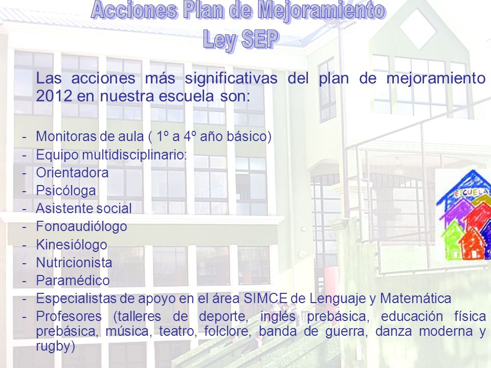 Matemática y Lenguaje: -Contratación de profesores especialistas en estas áreas.
