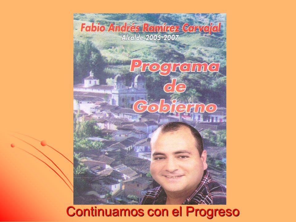 Continuamos con el Progreso 2005-2007 El deseo de seguir haciendo más por la Concha, me anima para avanzar en pro del mejoramiento continuo, respecto a la calidad de vida de todos los habitantes de nuestro pueblo.
