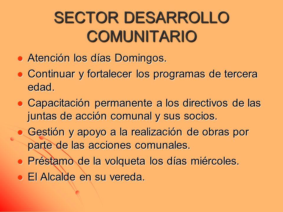 SECTOR DESARROLLO COMUNITARIO Atención los días Domingos. Atención los días Domingos. Continuar y fortalecer los programas de tercera edad. Continuar