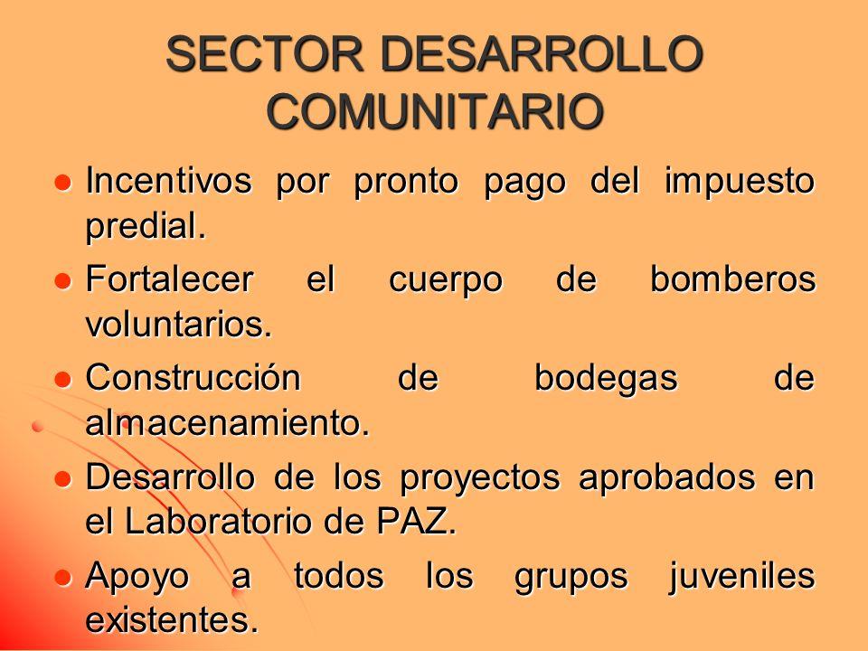 SECTOR DESARROLLO COMUNITARIO Incentivos por pronto pago del impuesto predial.