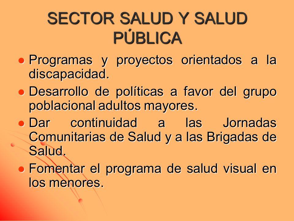 SECTOR SALUD Y SALUD PÚBLICA Programas y proyectos orientados a la discapacidad. Programas y proyectos orientados a la discapacidad. Desarrollo de pol