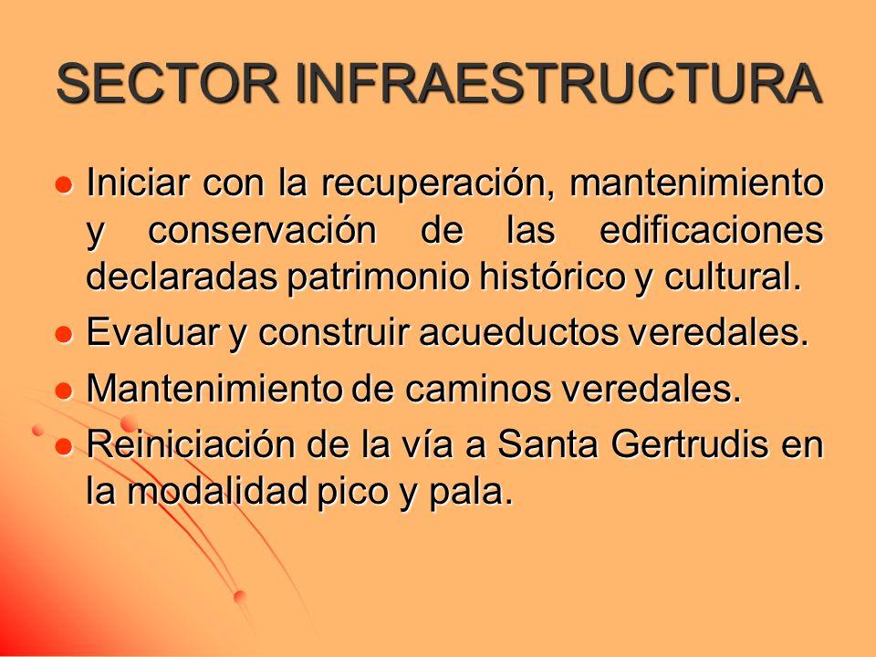 SECTOR INFRAESTRUCTURA Iniciar con la recuperación, mantenimiento y conservación de las edificaciones declaradas patrimonio histórico y cultural. Inic