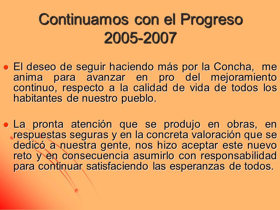 Continuamos con el Progreso 2005-2007 El deseo de seguir haciendo más por la Concha, me anima para avanzar en pro del mejoramiento continuo, respecto