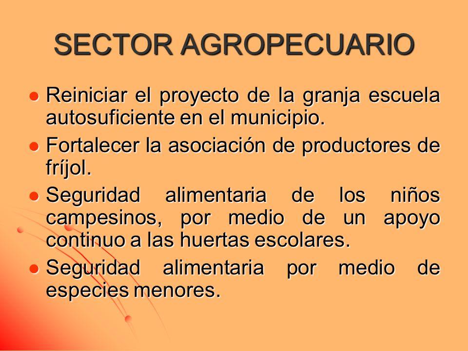 SECTOR AGROPECUARIO Reiniciar el proyecto de la granja escuela autosuficiente en el municipio. Reiniciar el proyecto de la granja escuela autosuficien