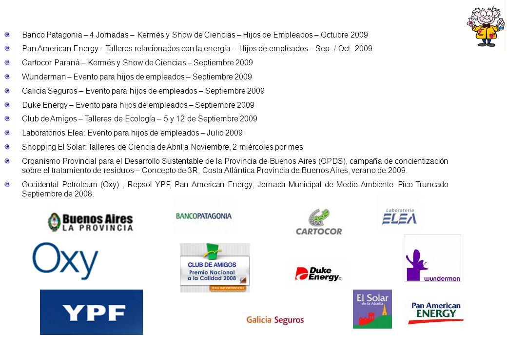 Banco Patagonia – 4 Jornadas – Kermés y Show de Ciencias – Hijos de Empleados – Octubre 2009 Pan American Energy – Talleres relacionados con la energía – Hijos de empleados – Sep.