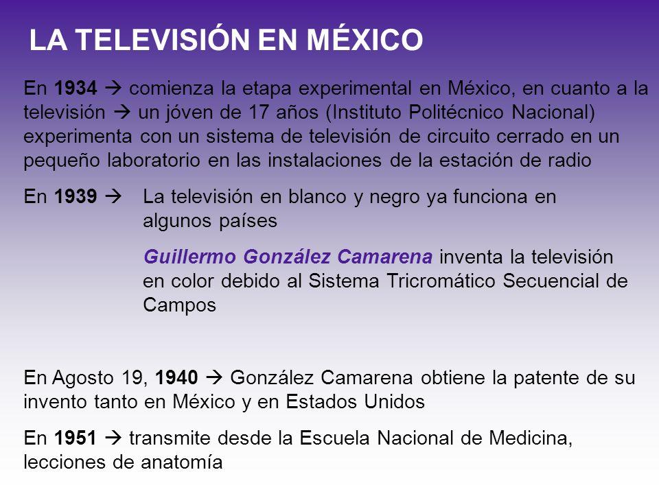 En 1934 comienza la etapa experimental en México, en cuanto a la televisión un jóven de 17 años (Instituto Politécnico Nacional) experimenta con un si