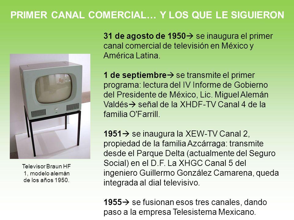 PRIMER CANAL COMERCIAL… Y LOS QUE LE SIGUIERON 31 de agosto de 1950 se inaugura el primer canal comercial de televisión en México y América Latina. 1