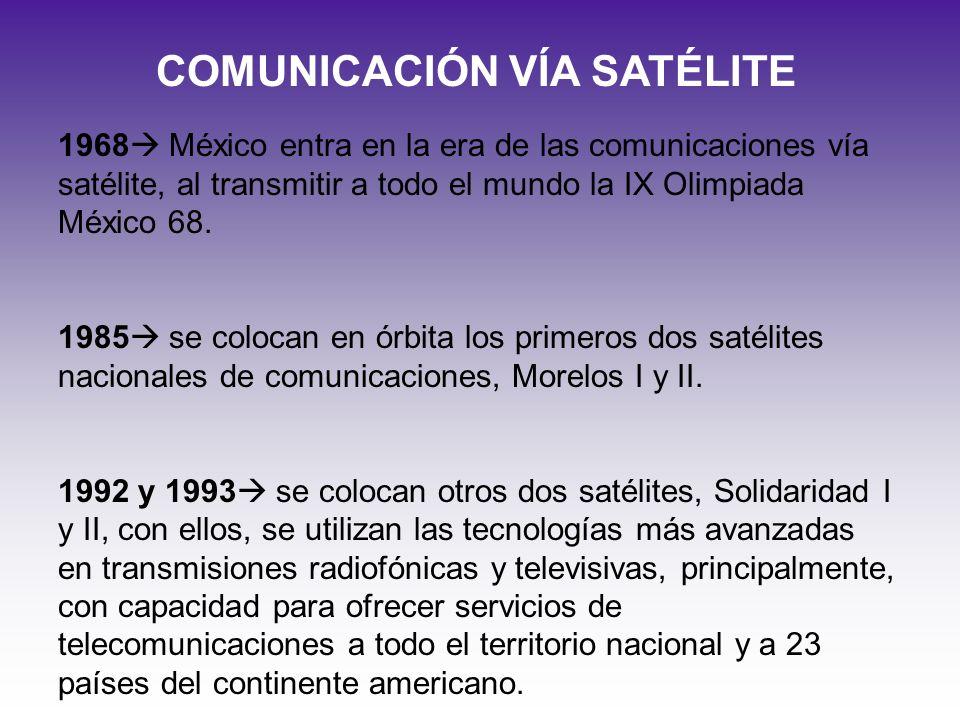 COMUNICACIÓN VÍA SATÉLITE 1968 México entra en la era de las comunicaciones vía satélite, al transmitir a todo el mundo la IX Olimpiada México 68. 198