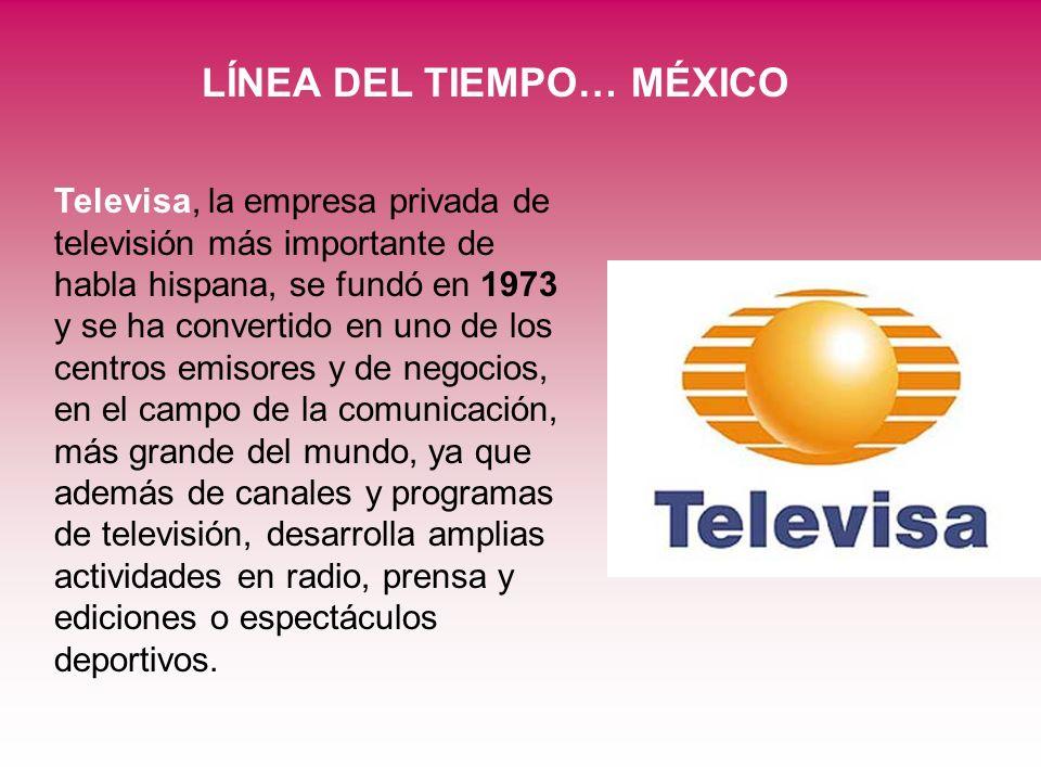 LÍNEA DEL TIEMPO… MÉXICO Televisa, la empresa privada de televisión más importante de habla hispana, se fundó en 1973 y se ha convertido en uno de los