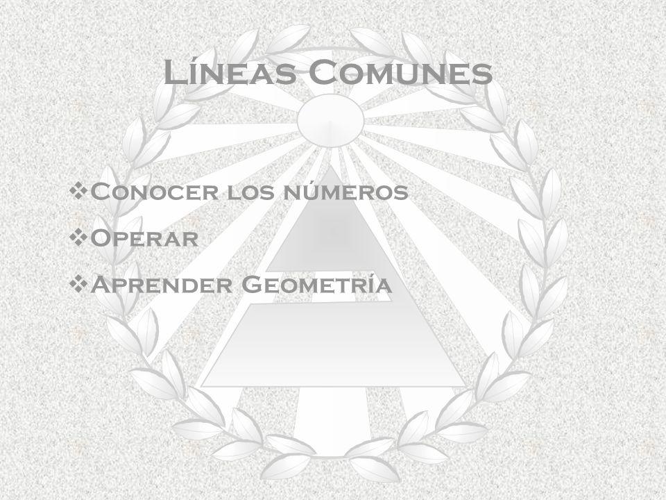 Líneas Comunes Conocer los números Operar Aprender Geometría