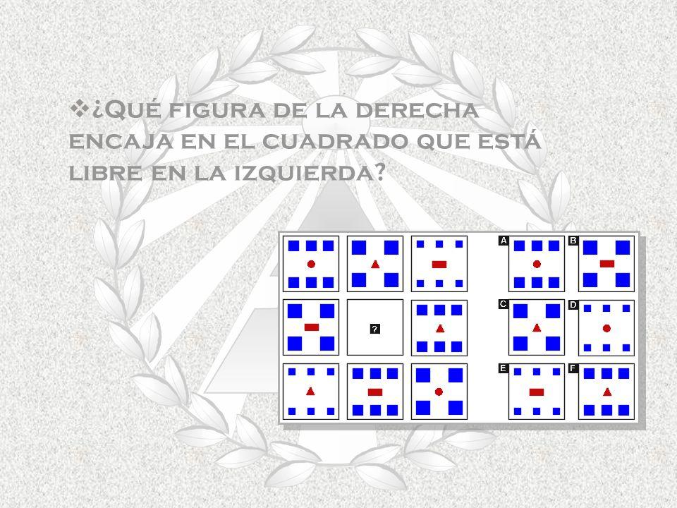 ¿Qué figura de la derecha encaja en el cuadrado que está libre en la izquierda?