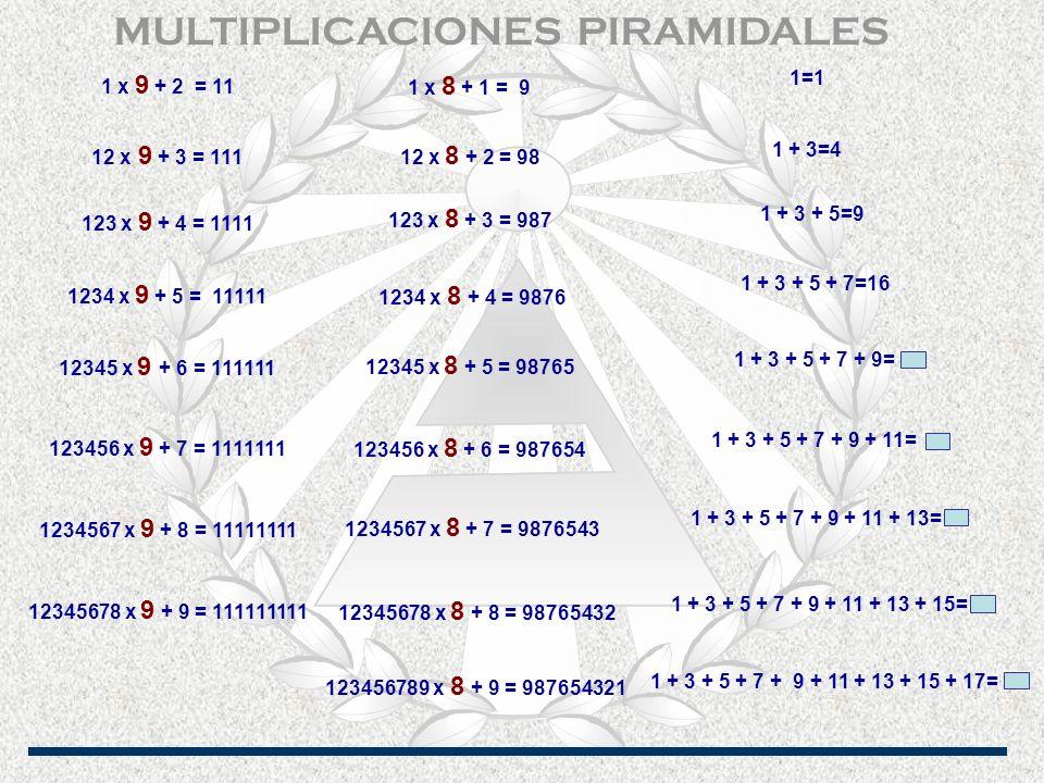 1 x 9 + 2 = 11 12 x 9 + 3 = 111 123 x 9 + 4 = 1111 12345678 x 9 + 9 = 111111111 1234567 x 9 + 8 = 11111111 123456 x 9 + 7 = 1111111 12345 x 9 + 6 = 111111 1234 x 9 + 5 = 11111 123456789 x 8 + 9 = 987654321 12345678 x 8 + 8 = 98765432 1234567 x 8 + 7 = 9876543 123456 x 8 + 6 = 987654 12345 x 8 + 5 = 98765 1234 x 8 + 4 = 9876 123 x 8 + 3 = 987 12 x 8 + 2 = 98 1 x 8 + 1 = 9 1 + 3 + 5 + 7 + 9 + 11 + 13 + 15 + 17= 1 + 3 + 5 + 7 + 9 + 11 + 13 + 15= 1 + 3 + 5 + 7 + 9 + 11 + 13= 1 + 3 + 5 + 7 + 9 + 11= 1 + 3 + 5 + 7 + 9= 1 + 3 + 5 + 7=16 1 + 3 + 5=9 1 + 3=4 1=1 MULTIPLICACIONES PIRAMIDALES