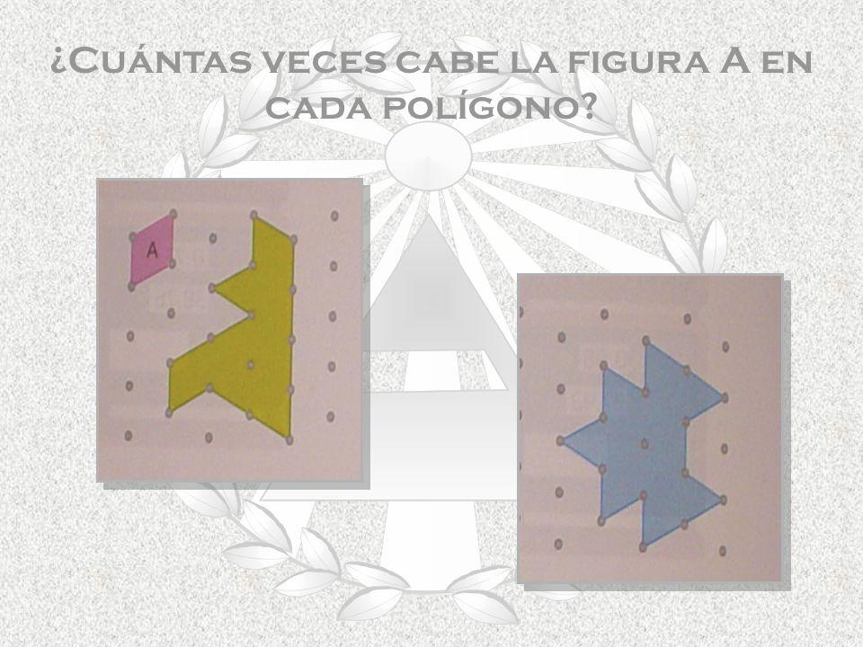 ¿Cuántas veces cabe la figura A en cada polígono?