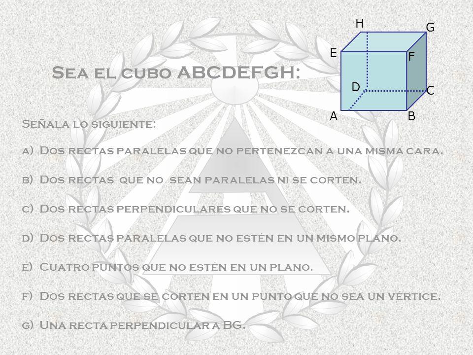 Sea el cubo ABCDEFGH: Señala lo siguiente: a)Dos rectas paralelas que no pertenezcan a una misma cara.