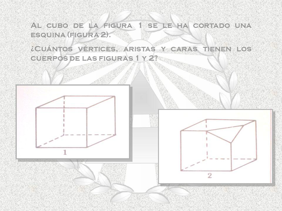 Al cubo de la figura 1 se le ha cortado una esquina (figura 2).