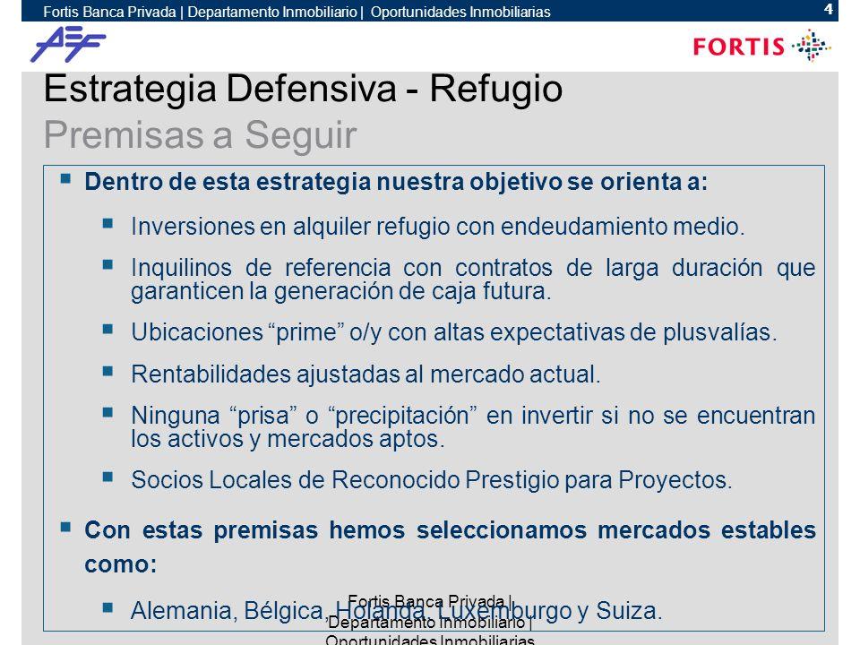 Fortis Banca Privada | Departamento Inmobiliario | Oportunidades Inmobiliarias 4 Estrategia Defensiva - Refugio Premisas a Seguir Dentro de esta estrategia nuestra objetivo se orienta a: Inversiones en alquiler refugio con endeudamiento medio.