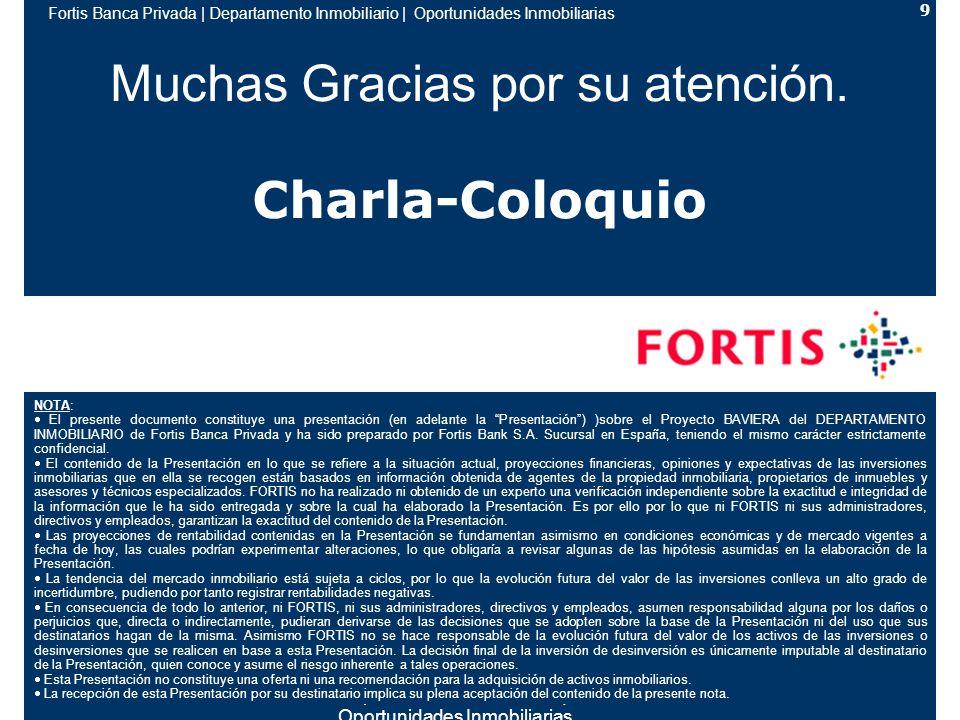Fortis Banca Privada | Departamento Inmobiliario | Oportunidades Inmobiliarias 9 Muchas Gracias por su atención.