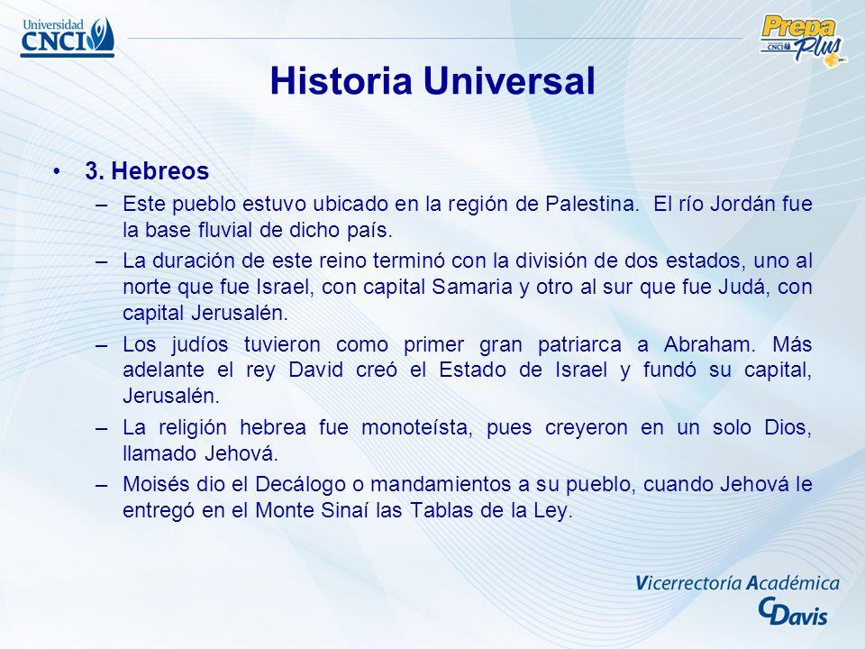 Historia Universal 3. Hebreos –Este pueblo estuvo ubicado en la región de Palestina. El río Jordán fue la base fluvial de dicho país. –La duración de