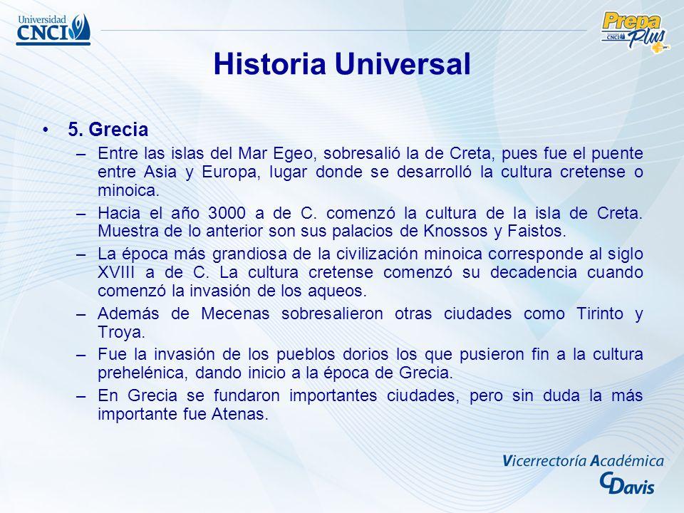 5. Grecia –Entre las islas del Mar Egeo, sobresalió la de Creta, pues fue el puente entre Asia y Europa, lugar donde se desarrolló la cultura cretense
