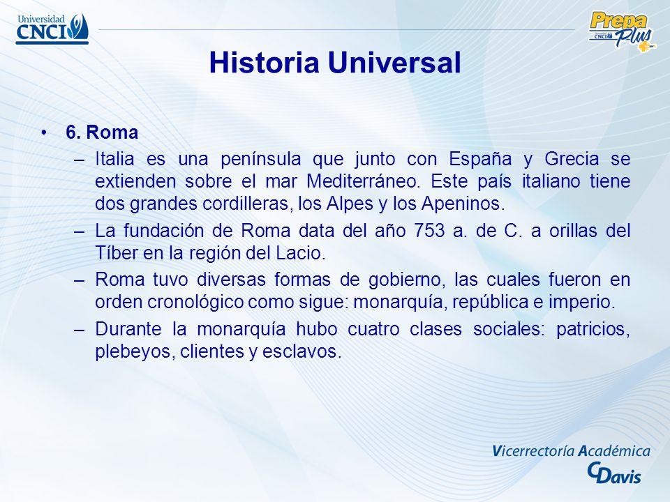 Historia Universal 6. Roma –Italia es una península que junto con España y Grecia se extienden sobre el mar Mediterráneo. Este país italiano tiene dos