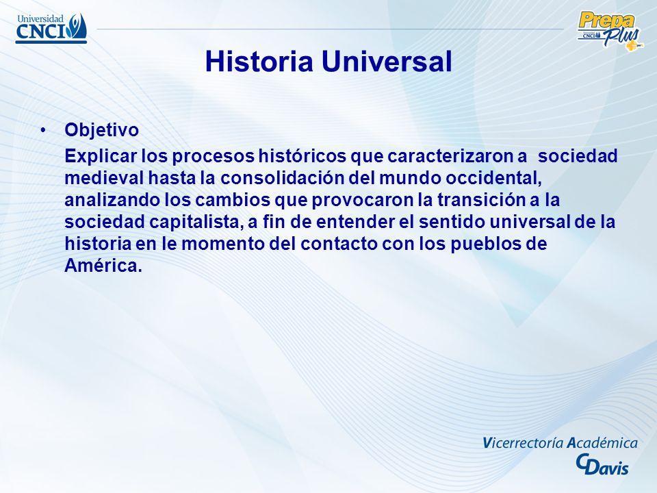 Historia Universal Objetivo Explicar los procesos históricos que caracterizaron a sociedad medieval hasta la consolidación del mundo occidental, anali