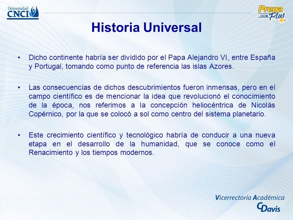 Dicho continente habría ser dividido por el Papa Alejandro VI, entre España y Portugal, tomando como punto de referencia las islas Azores. Las consecu