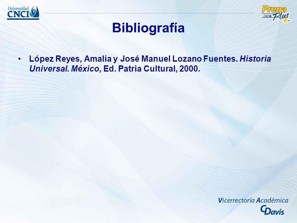 Bibliografía López Reyes, Amalia y José Manuel Lozano Fuentes. Historia Universal. México, Ed. Patria Cultural, 2000.