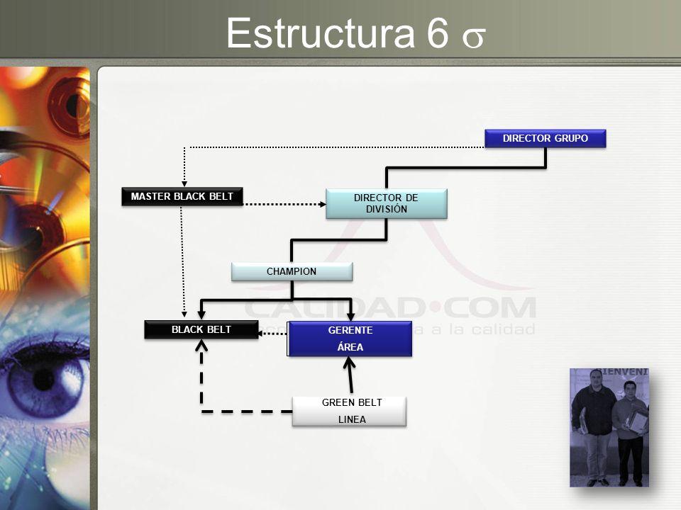 Estructura 6 BLACK BELT GREEN BELT LINEA GERENTE ÁREA GERENTE ÁREA CHAMPION DIRECTOR DE DIVISIÓN MASTER BLACK BELT DIRECTOR GRUPO