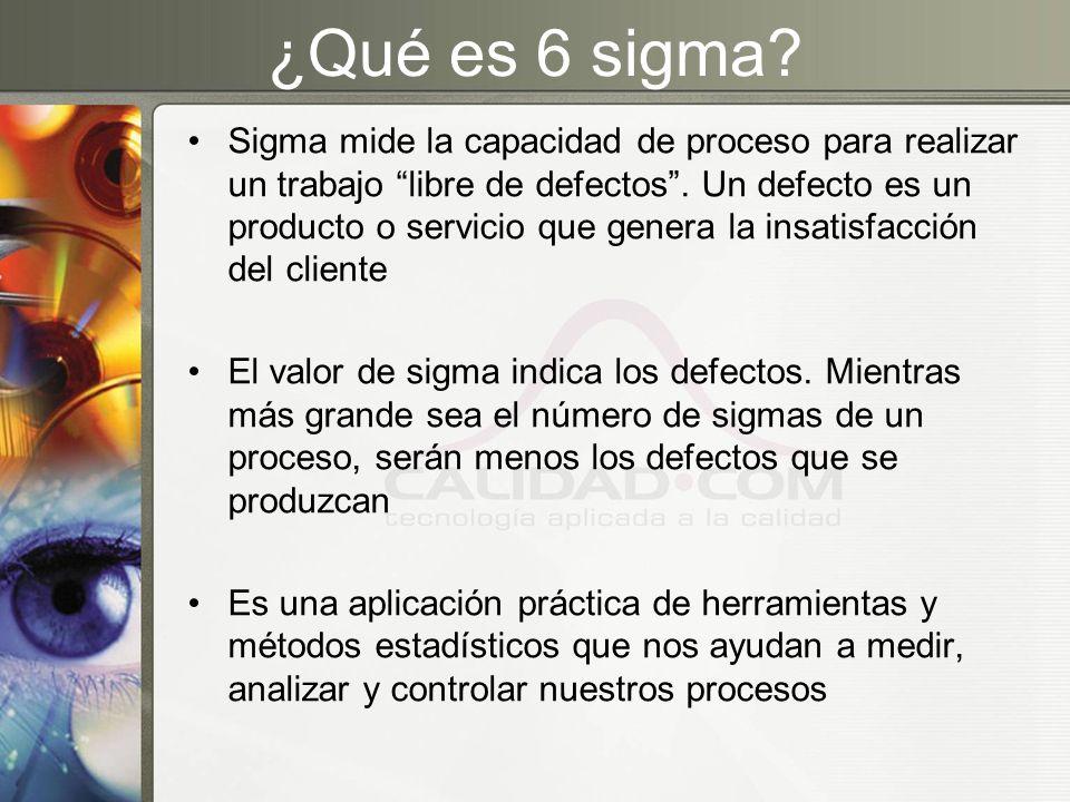 ¿Qué es 6 sigma? Sigma mide la capacidad de proceso para realizar un trabajo libre de defectos. Un defecto es un producto o servicio que genera la ins