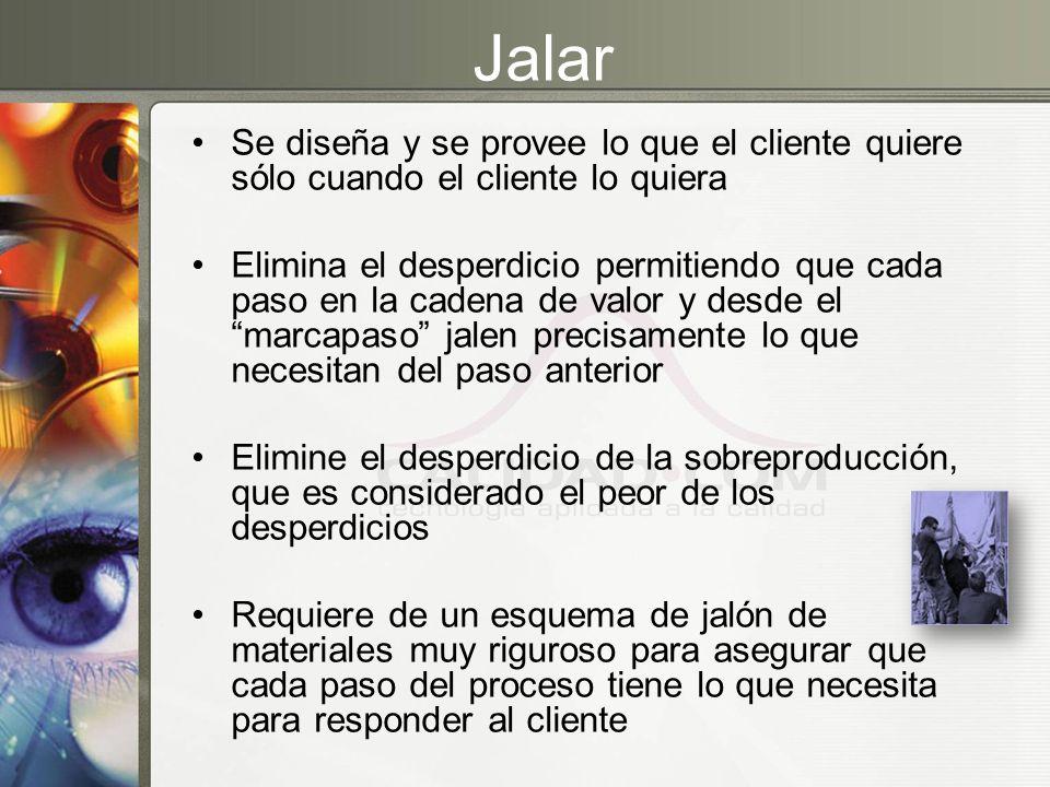Jalar Se diseña y se provee lo que el cliente quiere sólo cuando el cliente lo quiera Elimina el desperdicio permitiendo que cada paso en la cadena de