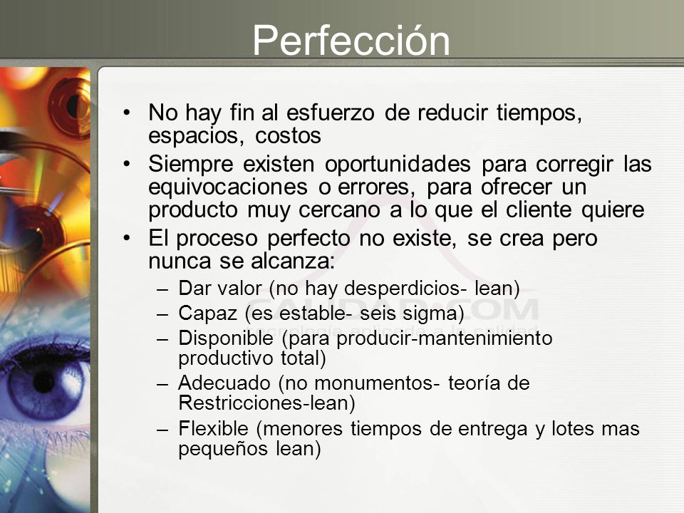 Perfección No hay fin al esfuerzo de reducir tiempos, espacios, costos Siempre existen oportunidades para corregir las equivocaciones o errores, para