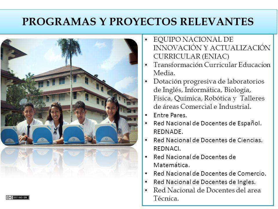 PROGRAMAS Y PROYECTOS RELEVANTES EQUIPO NACIONAL DE INNOVACIÓN Y ACTUALIZACIÓN CURRICULAR (ENIAC) Transformación Curricular Educacion Media. Dotación