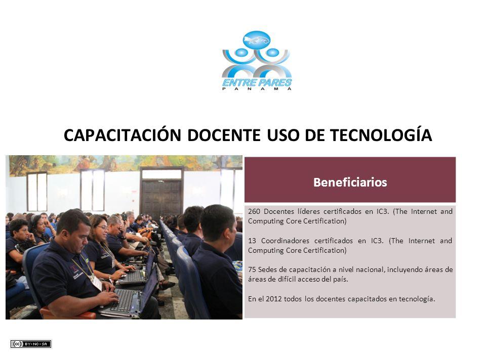 Beneficiarios 260 Docentes líderes certificados en IC3. (The Internet and Computing Core Certification) 13 Coordinadores certificados en IC3. (The Int