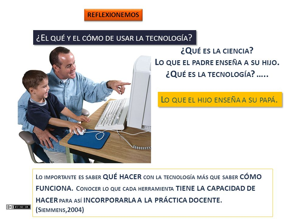 ¿E L QUÉ Y EL CÓMO DE USAR LA TECNOLOGÍA ? ¿Q UÉ ES LA CIENCIA ? L O QUE EL PADRE ENSEÑA A SU HIJO. ¿Q UÉ ES LA TECNOLOGÍA ? ….. L O QUE EL HIJO ENSEÑ