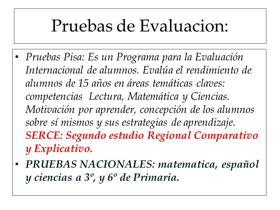 Pruebas de Evaluacion: Pruebas Pisa: Es un Programa para la Evaluación Internacional de alumnos. Evalúa el rendimiento de alumnos de 15 años en áreas