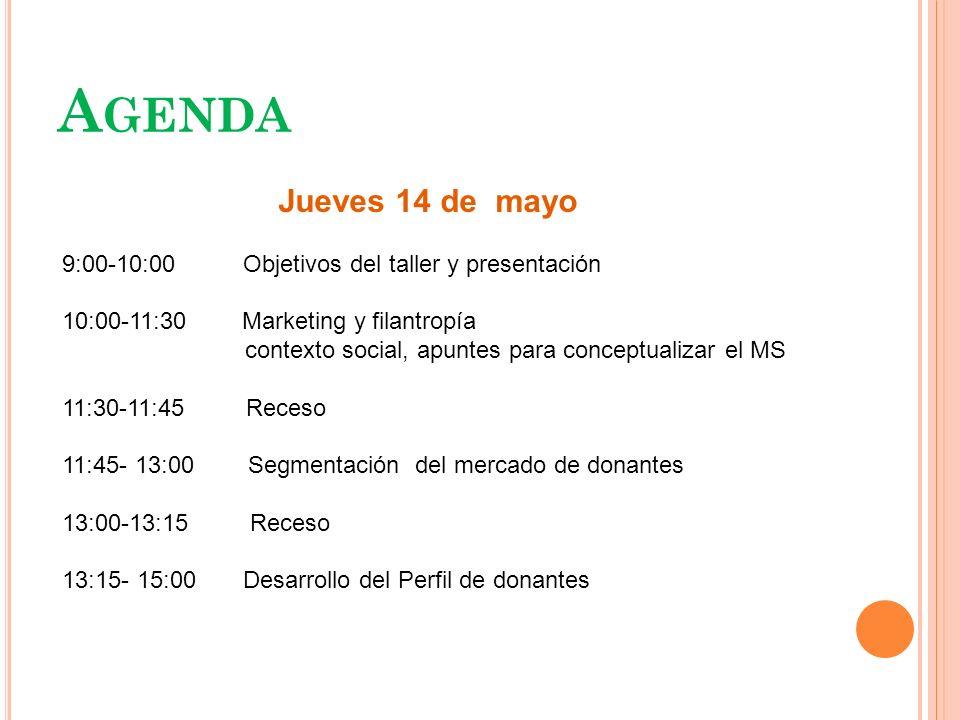A GENDA Jueves 14 de mayo 9:00-10:00 Objetivos del taller y presentación 10:00-11:30 Marketing y filantropía contexto social, apuntes para conceptuali