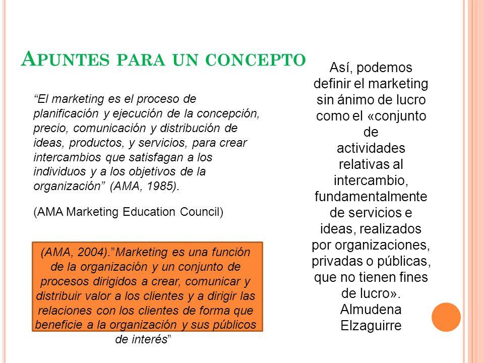 A PUNTES PARA UN CONCEPTO Así, podemos definir el marketing sin ánimo de lucro como el «conjunto de actividades relativas al intercambio, fundamentalm