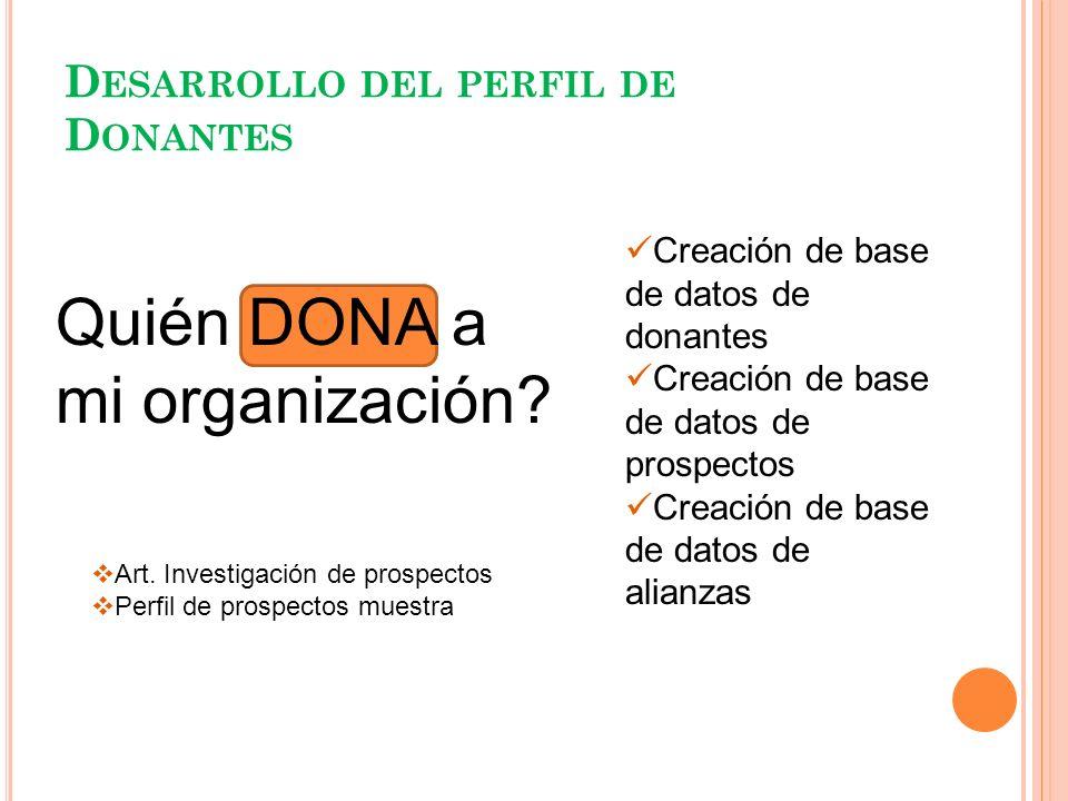 D ESARROLLO DEL PERFIL DE D ONANTES Creación de base de datos de donantes Creación de base de datos de prospectos Creación de base de datos de alianza