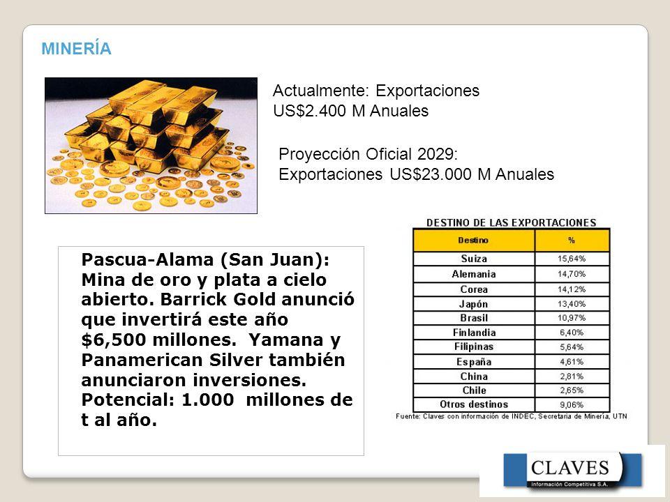 MINERÍA Pascua-Alama (San Juan): Mina de oro y plata a cielo abierto.