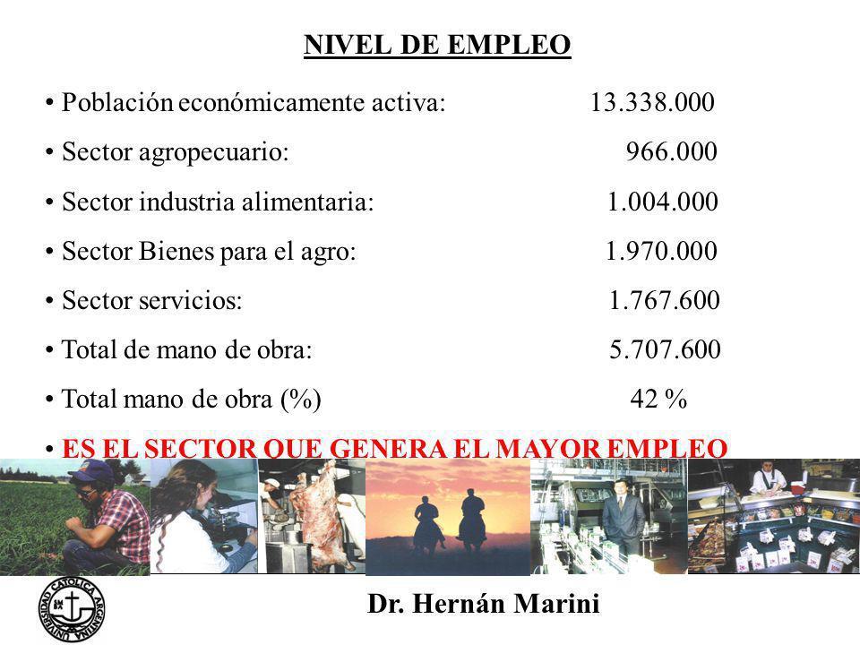 Dr. Hernán Marini NIVEL DE EMPLEO Población económicamente activa: 13.338.000 Sector agropecuario: 966.000 Sector industria alimentaria: 1.004.000 Sec