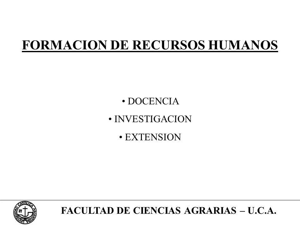 FACULTAD DE CIENCIAS AGRARIAS – U.C.A. FORMACION DE RECURSOS HUMANOS DOCENCIA INVESTIGACION EXTENSION
